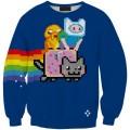 Свитшот-кофта Время приключений и Nyan cat (Adventure time)